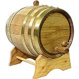 Oak Beverage Dispensing Barrel with Brass Bands: 2 Liter - Whiskey