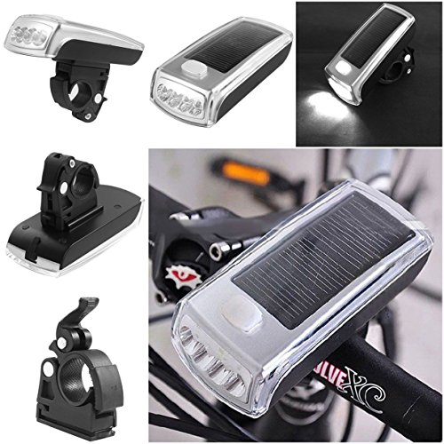 1 Set Garnished Unique 3 Mode 4x LED Flashlight Bike Lights Night Light Bicycle Head Front Rear Headlight Clean Energy Coast LEDs Flashlights Torch Lamp Mount Charging by Solar / (Bike Life Tv Halloween)