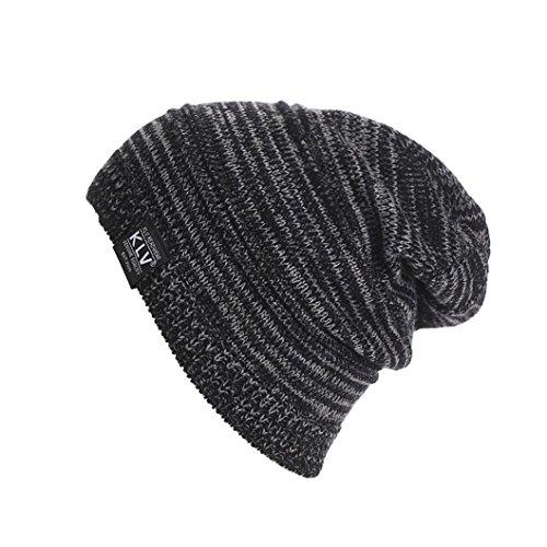 malltop-men-women-unisex-slouchy-knitted-mixed-color-beanie-baggy-winter-ski-elastic-hat-black