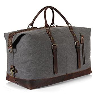 37672cde10 Lifewit Oversized Weekender Overnight Duffel Bag Canvas Leather Carry on  Travel Tote  Amazon.co.uk  Clothing