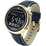 Waterproof Bluetooth 4.0 Digital Smart Casual Watch for Android and iPhone Phone APP (Gold Steel+ Blue Leather Band)