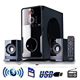 beFree Sound 2.1 Bluetooth Speaker System for any PC or Home Entertainment with FM Radio, SD and full function remote control