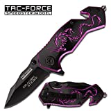 Tac-force Assisted Opening Belt Clip Black/purple Aluminum Handle Dragon Graphics Design A/o 3.5″ Closed Knife Review