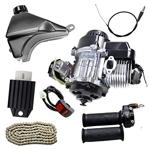 TDPRO 2-Stroke Engine Motor & Gas Fuel Tank & 25H Chain & Throttle grips & Throttle cable & Voltage Regulator & Switch Kit for Mini Pocket Scooter Dirt Bikes ATV Quad