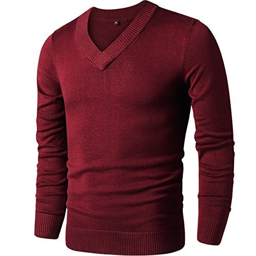 (LTIFONE Mens Slim Comfortably Knitted Long Sleeve V-Neck Sweaters (Red,XXL))