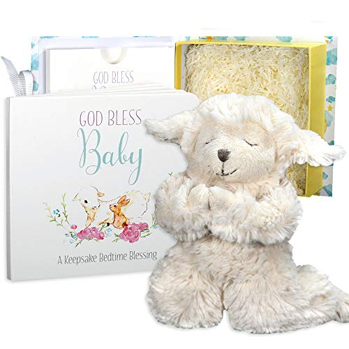Baby Baptism Gift Set with Praying Musical Lamb and Prayer Book in Keepsake Box for Christening Boys and -