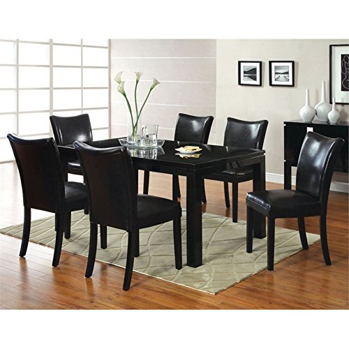 Furniture of America Kelton 7 Piece Dining Set in Black