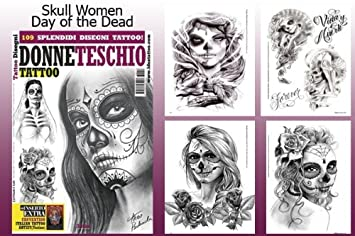 amazon com day of the dead skull women design 66 page tattoo flash