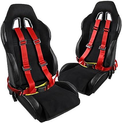 Novia estilo negro algodón Racing asientos + 4 punto rojo Racing ...
