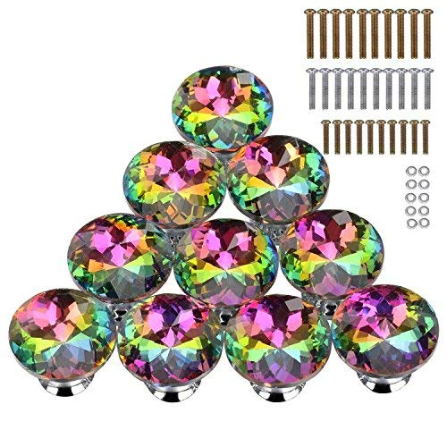- 10PCS 30MM Colorful Crystal Glass Cabinet Knob Cupboard Drawer Pull Handle,3 Size Screws