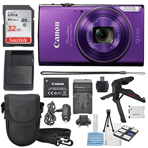 Canon PowerShot ELPH 360 HS (Purple)12x Optical Zoom - Built-In Wi-Fi W/ Deluxe Starter Kit Including 32GB SDHC Xpix Table Tripod + AC/DC Turbo Travel Charger + Extra battery + -