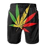 Men's Rasta Africa Marijuana Leaf Summer Beach Shorts Leisure Quick Dry Swimming Pants