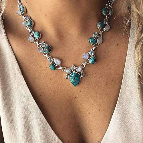 LTH12 Pendant Necklaces - Retro Geometric Water Drops Oval Gem Crystal Opal Silver Pendant Necklace Women Fashion Wedding Clothing Accessories 1 PCs