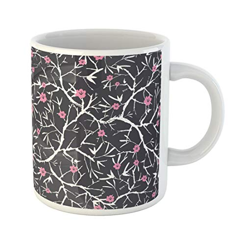 Tarolo 11 Oz Mug Coffee Mug Ceramic Tea Cup Asian Black Pink and White Blooming Sakura Bracnhes Pattern Great for Stationery Projects Bloom Large C-handle Family and Office - Blooming Stationery