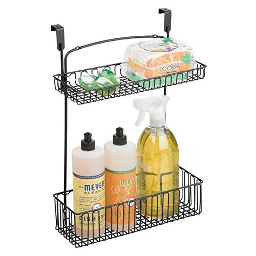 mDesign Over Cabinet Kitchen Storage Organizer Holder or Basket - Hang Over Cabinet Doors in Kitchen/Pantry - Holds Dish Soap, Window Cleaner, Sponges - Steel Wire in Matte Black Finish