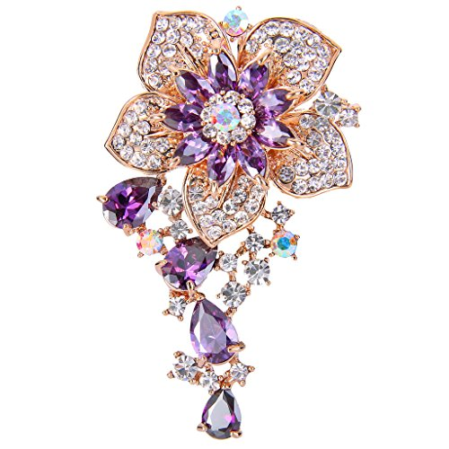 EVER FAITH CZ Austrian Crystal Blooming Orchid Flower Tear Drop Pendant Brooch Pin Purple Gold-Tone ()