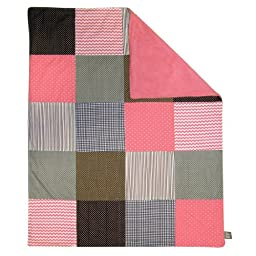 Trend Lab Cocoa Coral Multi-Patched Receiving Blanket, Coral Pink