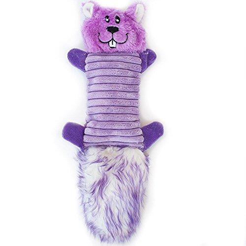 ZippyPaws Zingy 3-Squeaker No Stuffing Plush Dog Toy, Purple