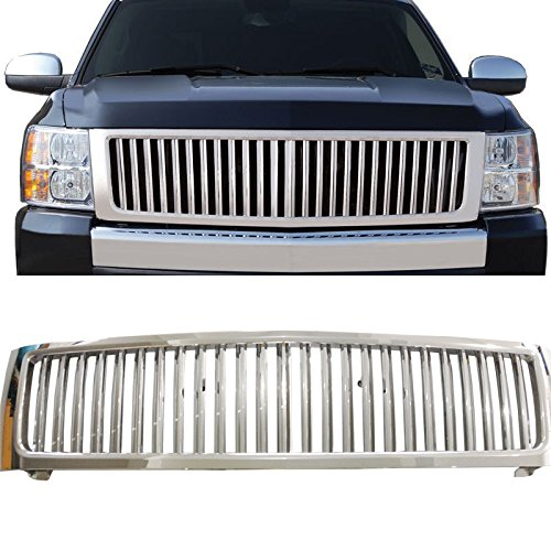 VioGi 1pc Chrome Strong ABS Plastic Badgeless Vertical Style Front Main Upper Grille Fit 07-13 Chevrolet Silverado 1500 New Body Style Only