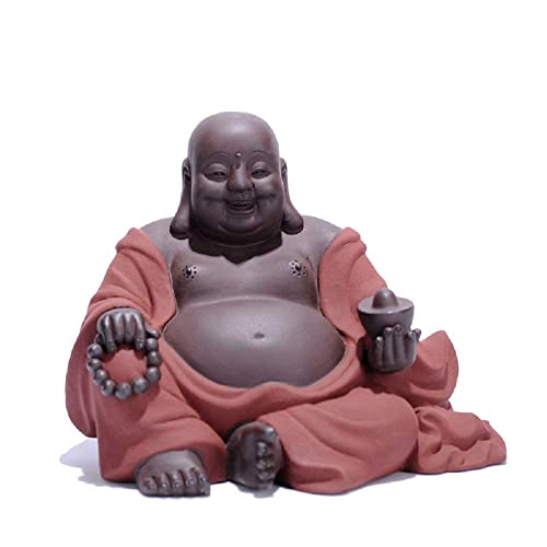 Creative Buddha Statues,Chinese Ceramic Zisha Purple Clay Buddha Art Home Decor,Clever Craftsman Crafts Laughing Buddha Figurine Desk Displaying Decor Sitting Pose