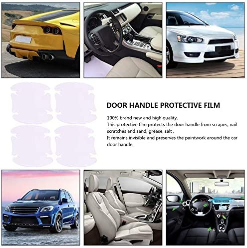 4 Sheets Adhensive Car Door Handle Scratches Film Guard Shakes Protector Invisible Durable and Transparent White