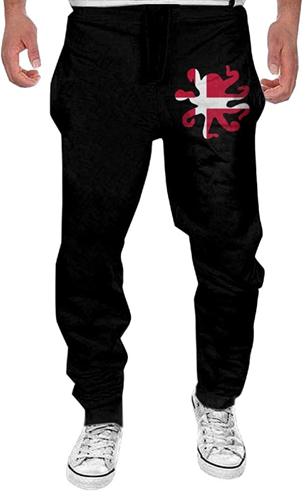 Yecx-1 Mens Octopus Shaped Denmark Flag Sport Cotton Jogger Sweatpants,Workout Beam Trousers