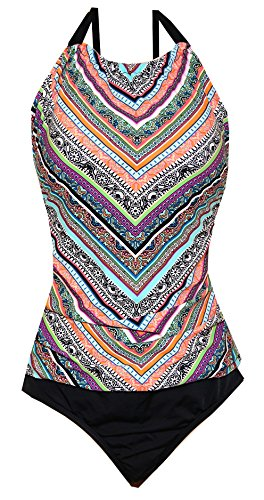 Jantzen Women's Assymetrical Soft Shirred High Neck 1-Piece Swimsuit (Assymetrical Southwestern Multi Print - Black Solid Bottom Portion, 18)