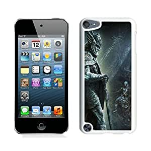 Excellent protection The Elder Scrolls Skyrim Cave Statue Warrior Sword White Cover Case For iPod Touch 5