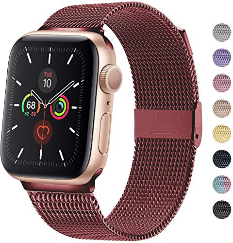 TRA Metal Band Compatible with Apple Watch 38mm 40mm 42mm 44mm, Stainless Steel Mesh Adjustable Replacement Strap Wristband for iWatch Series 5/4/3/2/1 Women & Men (Wine Red, 38mm/40mm)