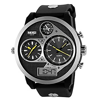 XKC-watches Relojes para Hombres, Mens Tough Design Three Time Zones Black Rubber Band