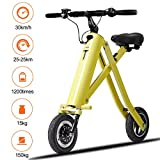 BuySevenSide Urban E-Bike And Folding Electric Scooter The Newest Foldable Bicycle Model With 15-18 MPH Max Speed 25-30 Miles Range and Upgraded Brake System (yellow) For Sale