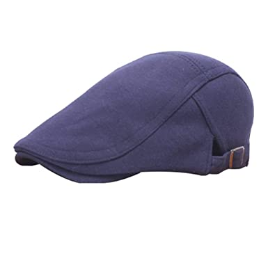 23e3a73ebb7e Bonnets Unisexe Béret Hommes Automne Hiver Bonnet Plat Rétro Neutre Basic  Décontracté Noir Casquettes Vetement (Color   Blau, Size   M)  Amazon.fr   ...