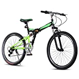 Ancheer Mountain Bike 26″ Wheels 7 speed Folding Dual-Suspension Mountain Bicycle