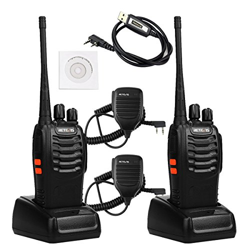 Talkie UHF 400-470MHz 3W 16CH Single Band Flashlight 2 Way Radio Handheld Ham Radio Transceiver (2 Pack) and Speaker Mic (2 Pack) and Programming Cable ()