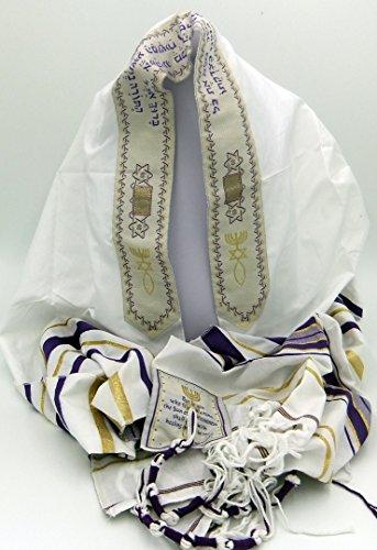Messianic Prayer Shawl Tallit 72 X 22 inch Purple,Free -