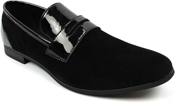 Tuxedo Black Suede Patent Leather Slip