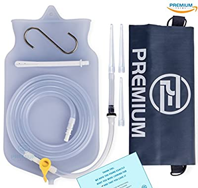 Premium Enema Silicone Enema Bag Kit. Non-Toxic. BPA and Phthalates Free. Suitable For Home, Water & Coffee Colon Cleansing. 2 Quart Bag (Clear Transparent)