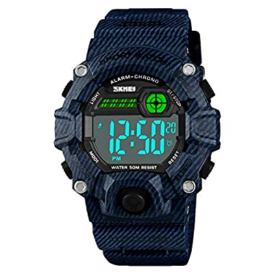 Boys Camouflage LED Sports Kids Watch Waterproof Digital Electronic Military Wrist Watches for Kids with Silicone Band…