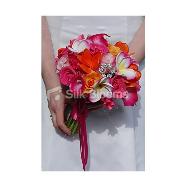 Tropical Bridal Bouquet w/ Frangipanis, Roses & Calla Lilies