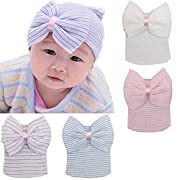 BQUBO 3 Pcs Newborn Hospital Hat Infant Baby Hat Cap with Big Bow Soft Cute Knot Nursery Beanie (4 Pack)