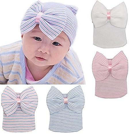 1a7e1e0cb3e DRESHOW BQUBO 3 Pcs Newborn Hospital Hat Infant Baby Hat Cap with Big Bow  Soft Cute Knot Nursery Beanie  Amazon.in  Baby