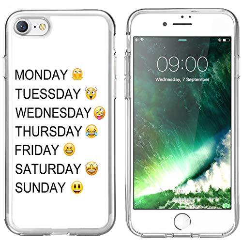 Emoji Case iPhone 8/7,Jolook Protection Slim Clear Case Emoji Design iPhone 8/7 - Week Emoji -