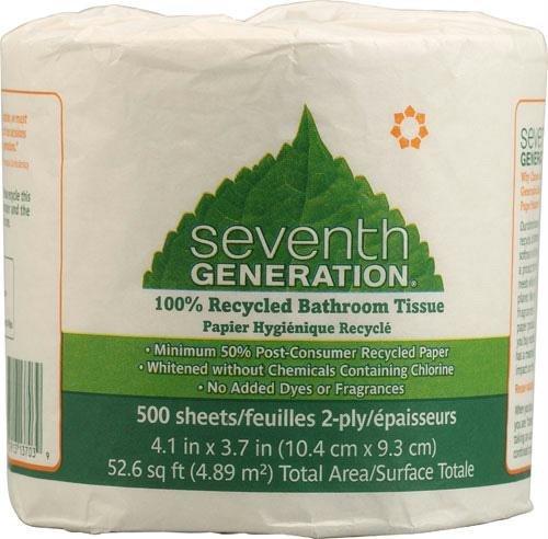 Seventh Generation 13703 – 100リサイクル浴室ティッシュ、二層、ホワイト、500枚/ロール、48ロール/カートン B005P0IZTI