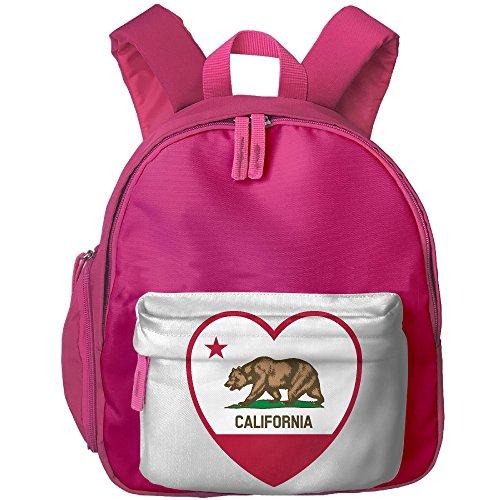 Clipart California Flag Heart Kids School Shoulders Bag Side Pocket Lunch Backpack Pink ()