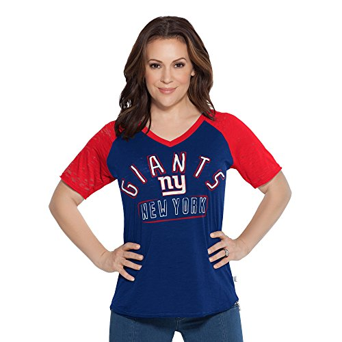 NFL New York Giants Women's Ace V-Neck Short Sleeve Tee, Medium, Royal