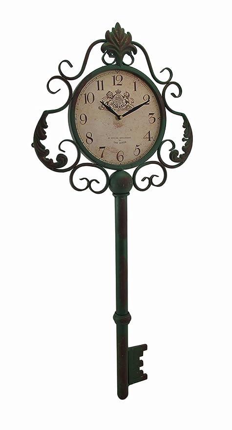 Zeckos Metal Wall Clocks Green Antique Key Shaped Vintage Finish Metal Wall Clock 13.5 X 31.5