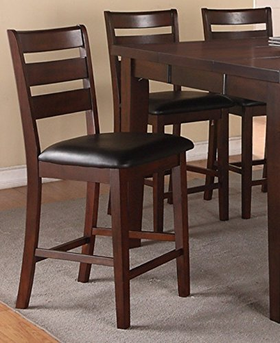 Set of 4 High Chair w/Black Faux Leather in Antique Walnut Finish by Advanced Furniture