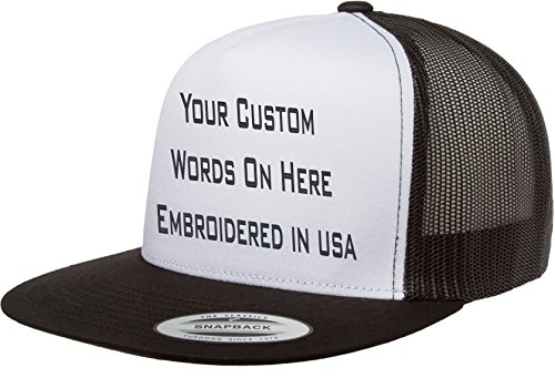 ae5a882aadf Custom Flat Bill Trucker Snapback Hat Yupoong 6006 Embroidered Your Own Text  (Black White