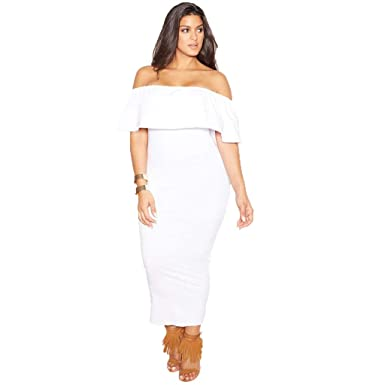 f596246465 Rebdolls Women s Casual White Over The Shoulder Ruffled Bodycon Maxi Dress  Plus Sizes at Amazon Women s Clothing store