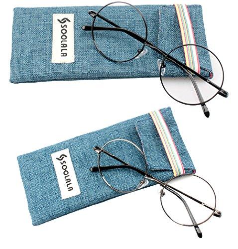 SOOLALA 2 Pairs Men Unisex Retro Classic Round Reading Glasses Circle Reader with Spring Hinge, BlackGray, - Glasses Designer Reading Wholesale